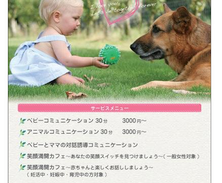 動物と赤ちゃんのコミュニケーションのお手伝いのチラシ